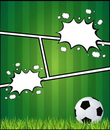 Comics pop art style blank layout template with clouds beams and soccer background vector illustration Illustration