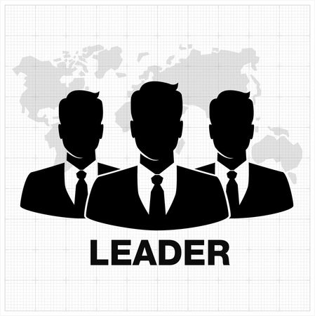 business icon: People icon, Group of business people with leader on foreground