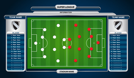 playing field: Football or soccer playing field with set of infographic elements. Vector illustration.