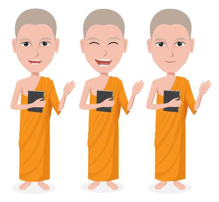 pastor: Cartoon Thai Monk vector