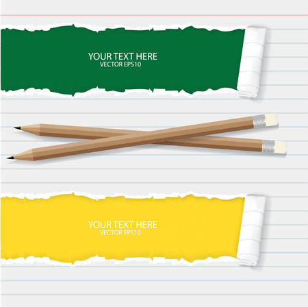 teared: paper with pencils