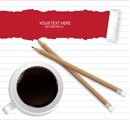 Blank torn notepad with pencil and coffee cup. Above view
