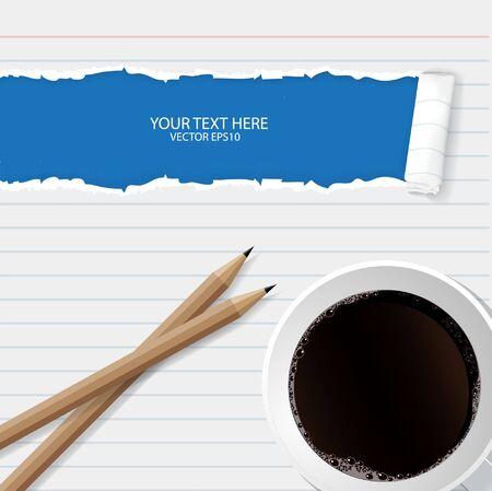 Blank torn notepad with pencil and coffee cup. Illustration
