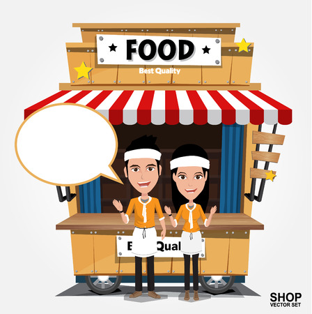 Fast food trolley on a colored background. Ilustração