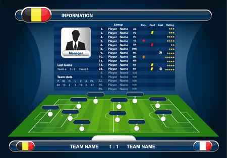 scoreboard: vector info graphic football field statistics