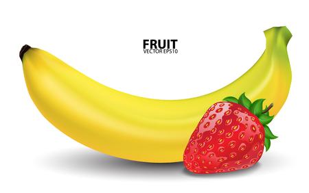 macro: Bananas and fresh strawberries. vector