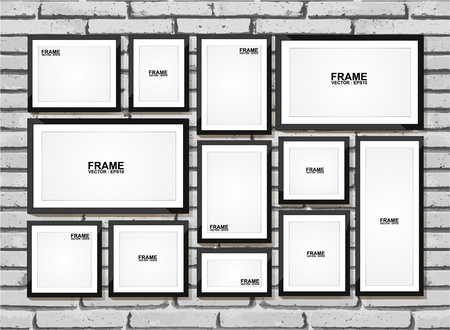 art gallery: Picture frame vector. Photo art gallery on brick wall Illustration