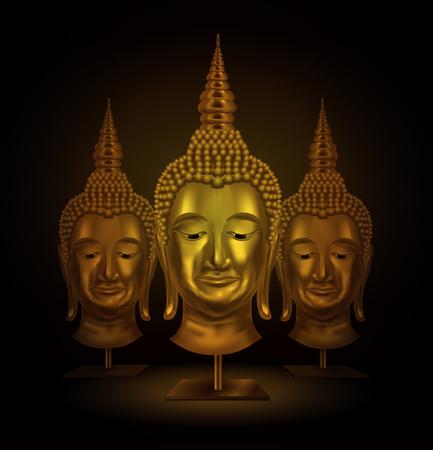 buddha head: buddha head portrait on a dark background. vector