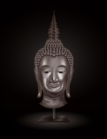 thai buddha: buddha head portrait on a dark background. vector