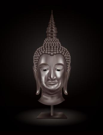 cabeza de buda: retrato de la cabeza de Buda sobre un fondo oscuro. vector Vectores