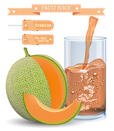 cantaloupe melon juice and slices of cantaloupe isolated on white. Vector illustration.