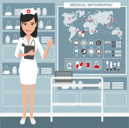 full length portrait: Illustration a smiling nurse. Vector illustration on the background of hospital ward.
