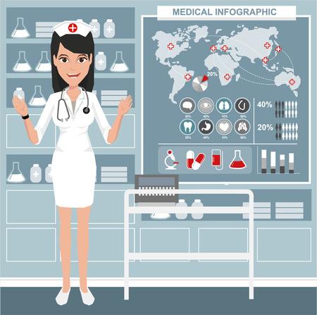hospital ward: Illustration a smiling nurse. Vector illustration on the background of hospital ward.