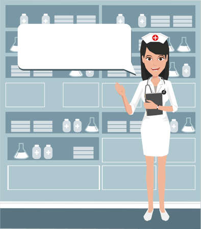 nurse cap: Young cute doctor providing information with a speech bubble.