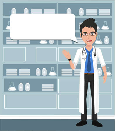 speech bubble hospital: Doctor providing information with a smile on a speech bubble background. Vector illustration on the background of hospital ward. Illustration