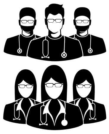 Doctor icon on white background. Illustration of three members of a medical team Vector
