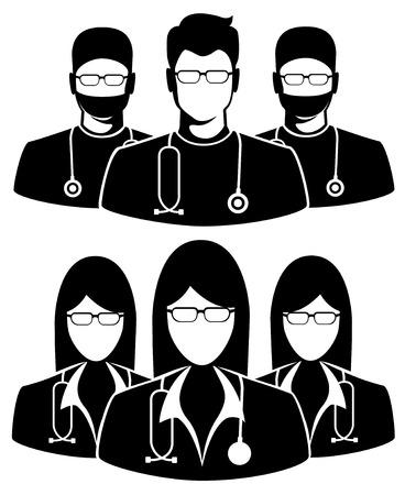 equipe medica: Icona Medico su sfondo bianco. Illustrazione di tre membri di un gruppo di medici Vettoriali
