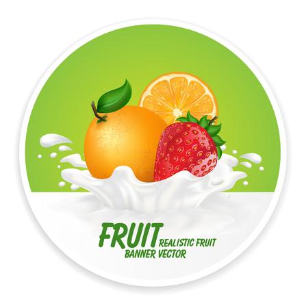 splash milk: Colorful fresh fruits falling into the milky splash banner. Vector illustration Illustration