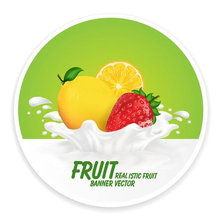fresh milk: Colorful fresh fruits falling into the milky splash banner. Vector illustration Illustration