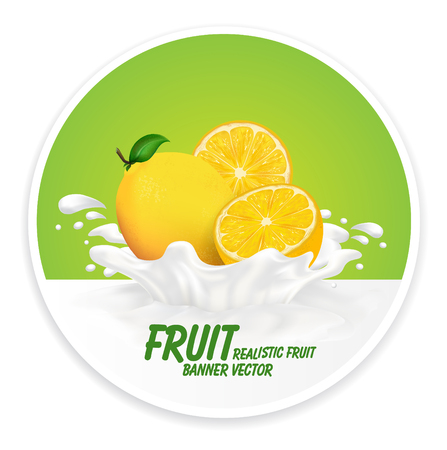 Colorful fresh fruits falling into the milky splash banner. Vector illustration Illustration