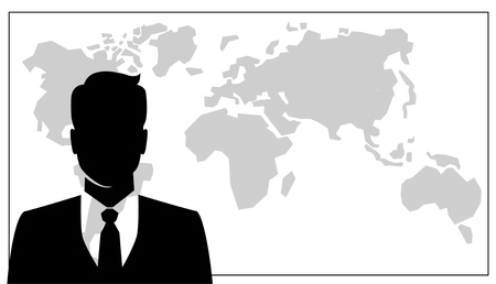 foreground: People icon, Group of business people with leader on foreground and map on background Illustration