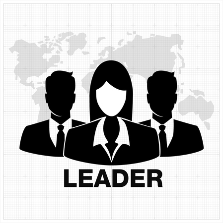 stereotype: People icon, Group of business people with leader on foreground and map on background Illustration
