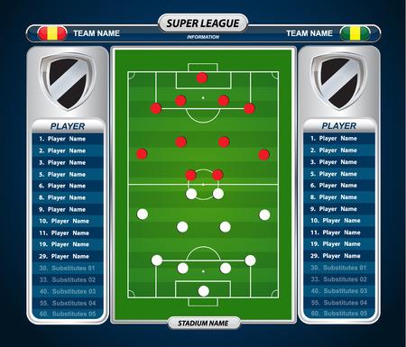 cancha de futbol: campo de fútbol con conjunto de elementos infográficos Vectores