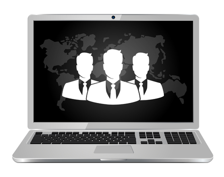 Laptop with People icon, Group of business people with leader on screen. Business concept