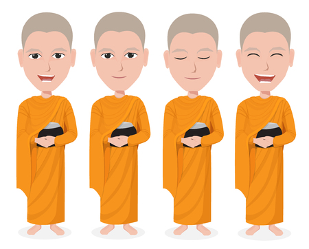 Cartoon Thai Monk vector Vector