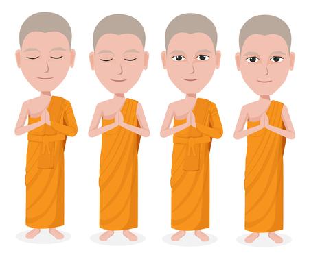 buddha tranquil: Cartoon Thai Monk vector