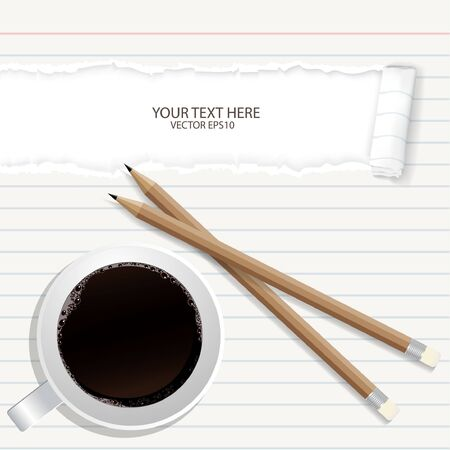 teared: Blank torn notepad with pencil and coffee cup. Above view