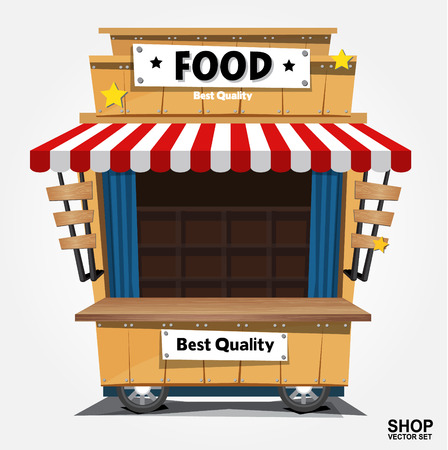 Fast food trolley on a colored background. Illustration