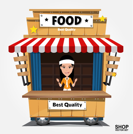 Fast food trolley on a colored background. Vector