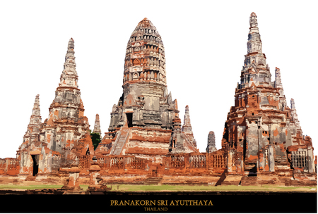 The Buddhist stupas. Temple viewed from entrance in Ayutthaya, Thailand at early-evening.vector