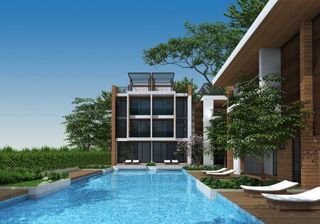 commercial building: 3d render of building