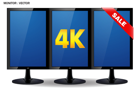 pc monitor: Creative abstract ultra high definition digital television screen technology concept: 4K TV or computer PC monitor display isolated on white background with reflection effect Illustration