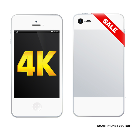 ultra: 4k screen smartphone with modern ultra hd resolution. Eps10 vector illustration.