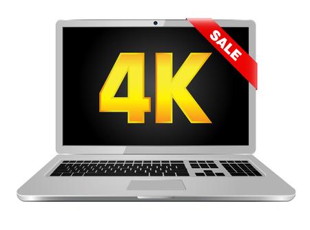 resolution: 4k screen laptop computer with modern ultra hd resolution.