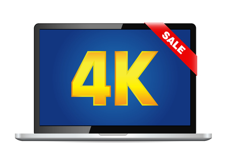 oled: 4k screen laptop computer with modern ultra hd resolution. Eps10 vector illustration