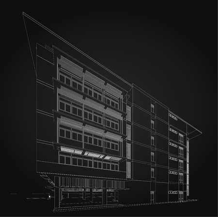 realestate: 3d wireframe of modern building.