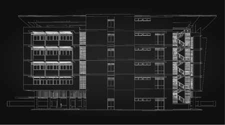 office buildings: 3d wireframe of modern building.