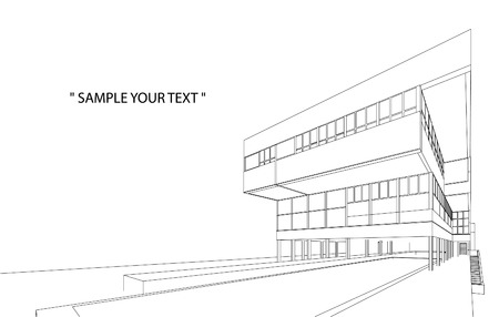 construction projects: 3d Wireframe Of Building Illustration