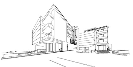 office buildings: 3d wireframe of building