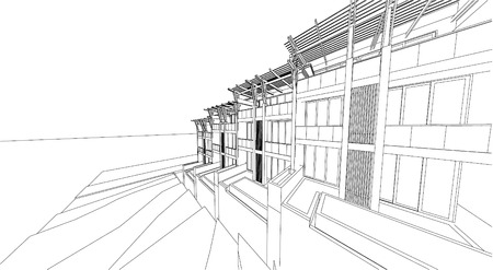 corporate building: 3d Wireframe Of Building Illustration
