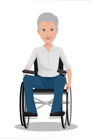 front view: Portrait of middle age man in wheelchair. Vector illustration