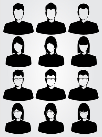 young woman face: silhouette business man and woman