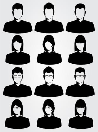 hombres ejecutivos: silueta del hombre de negocios y de la mujer