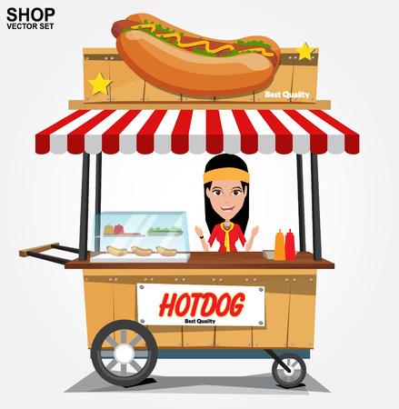 Hot-Dog-Straßenwagen mit seller.vector