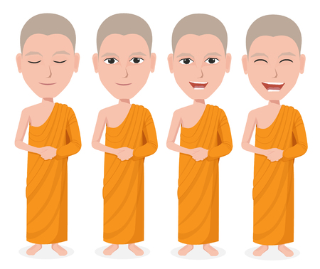 thai monk: Cartoon Thai Monk vector