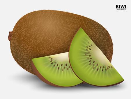 fruta tropical: Fruta de kiwi aislada en el fondo blanco.